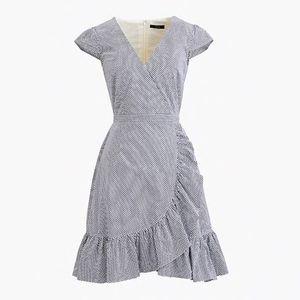 J.Crew Faux-wrap dress in gingham cotton poplin